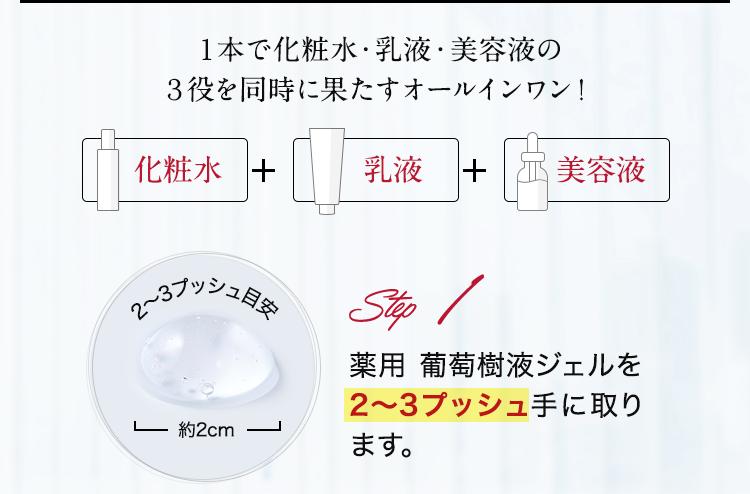 Step1.薬用 葡萄樹液ジェルを2~3プッシュ手に取ります。